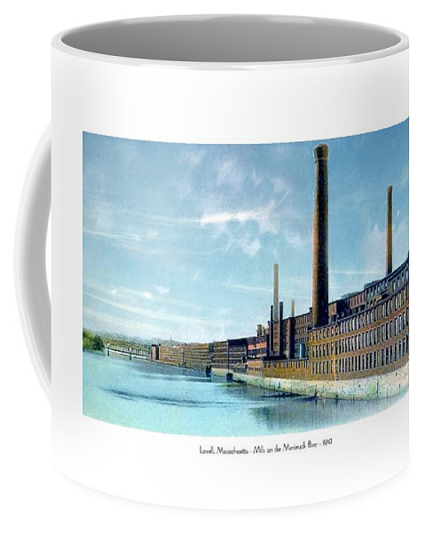 Mill Coffee Mug featuring the digital art Lowell Massachusetts - Mills On The Merrimack River - 1910 by John Madison