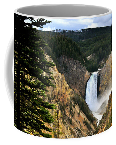 Wyoming Coffee Mug featuring the photograph Lower Falls On The Yellowstone River by Ed Riche