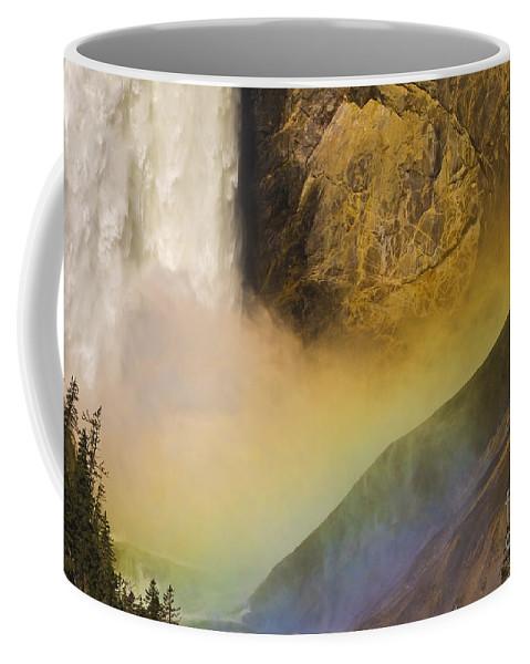Yellowstone National Park Coffee Mug featuring the photograph Lower Falls Rainbow - Yellowstone by Sandra Bronstein