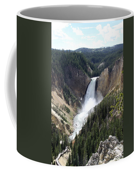 Lower Falls Coffee Mug featuring the photograph Lower Falls Yellowstone by Christiane Schulze Art And Photography