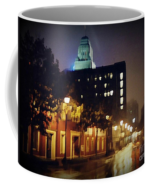 Halifax City Coffee Mug featuring the painting Lower Water Street In The Fog Halifax Nova Scotia by John Malone