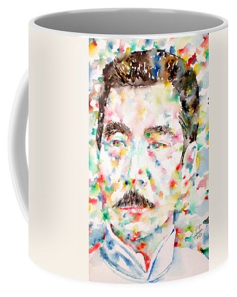 Lu Xun Coffee Mug featuring the painting Lu Xun Watercolor Portrait by Fabrizio Cassetta