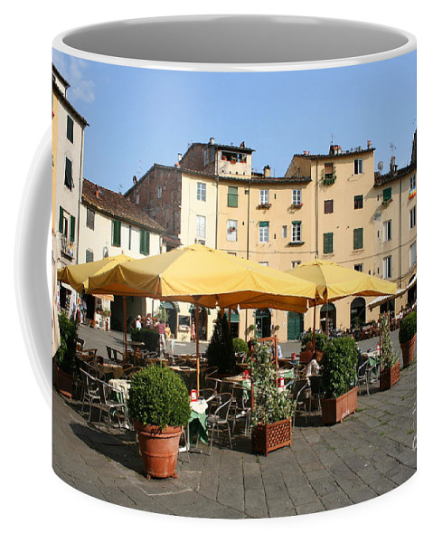 Piazza Del Mercato Coffee Mug featuring the photograph Lucca Piazza Del Mercato by Christiane Schulze Art And Photography