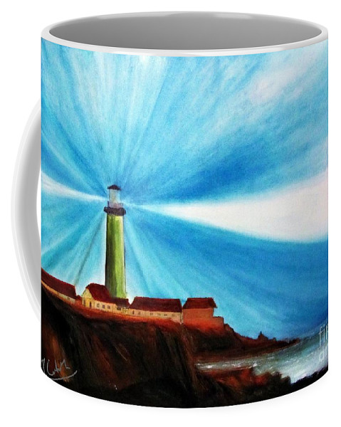 Piero C . Luci Del Faro - Lighthouse Flash - Original Oil Fine Art Paintings Coffee Mug featuring the painting Luci Del Faro by Piero C