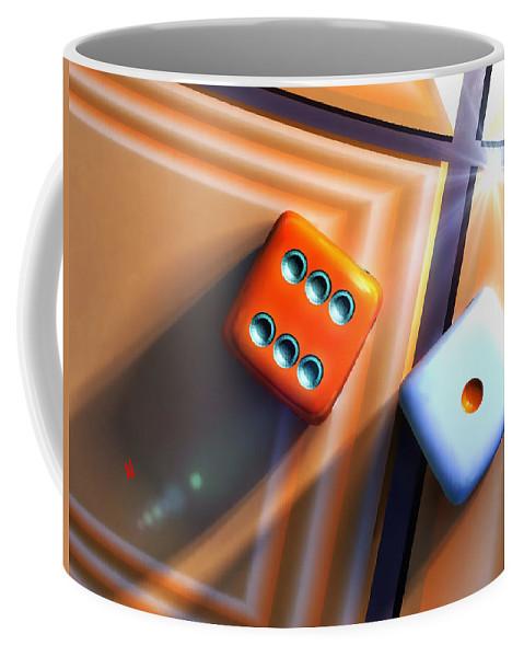 Dice Coffee Mug featuring the digital art Lucky Seven by Adam Vance