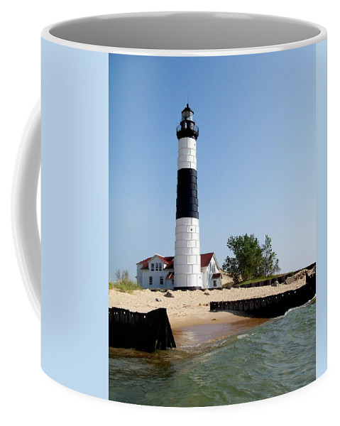 Lighthouse Coffee Mug featuring the photograph Ludington Michigan's Big Sable Lighthouse by Michelle Calkins