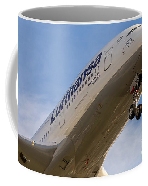 Airbus A380 Coffee Mug featuring the photograph Lufthansa Airbus A-380 by Rene Triay Photography