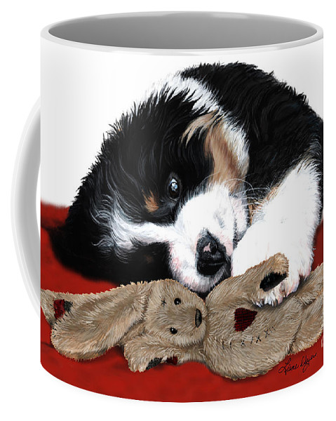 Bernese Mountain Dog Coffee Mug featuring the painting Lullaby Berner And Bunny by Liane Weyers
