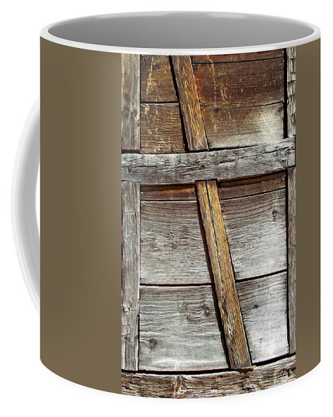 Wood Coffee Mug featuring the photograph Lumber Work On The Side Of Old Cabin by Duane McCullough