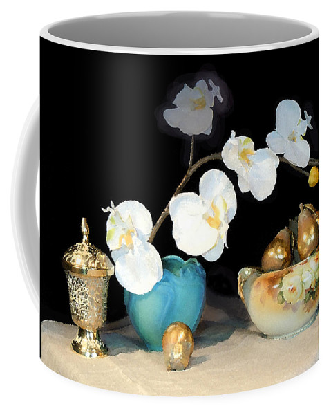 Paintings Still Life Coffee Mug featuring the photograph Luminous Watercolor Orchids by Heather Coen
