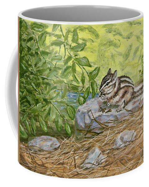 Chipmunk Coffee Mug featuring the painting Lunch Ala Rock by Chuck Adams