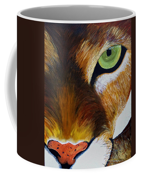 Mountain Lion Coffee Mug featuring the painting Lunch by Donna Blackhall