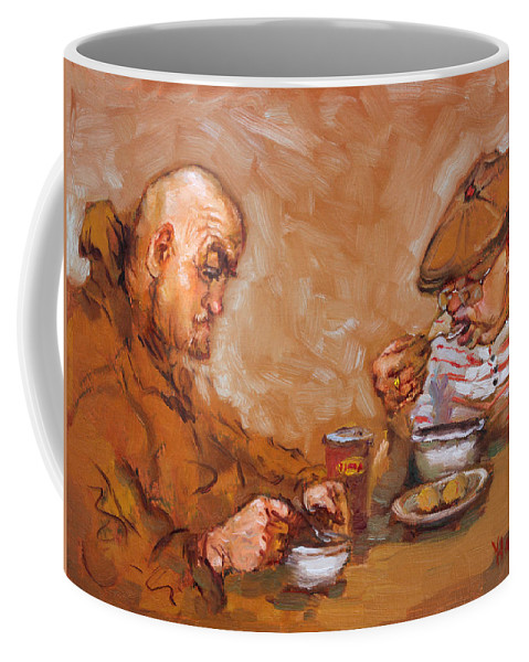 Lunchtime Coffee Mug featuring the painting Lunchtime At Tim by Ylli Haruni