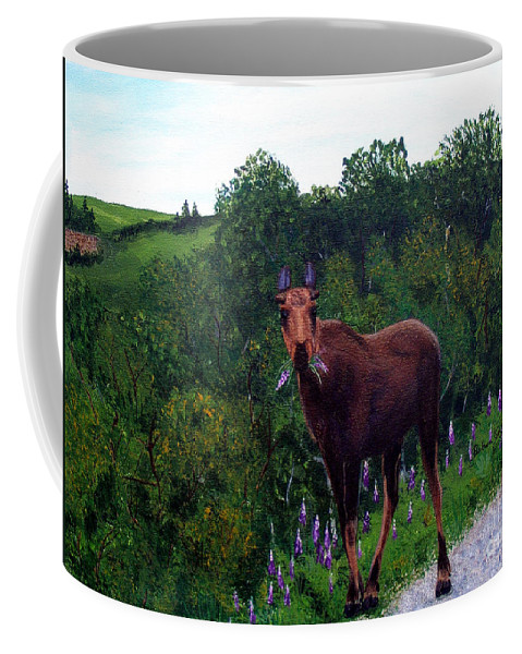 Barbara Griffin Coffee Mug featuring the painting Lupine Loving Moose by Barbara Griffin