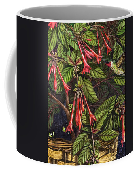 Fuchsia Coffee Mug featuring the painting Lurking by Catherine G McElroy