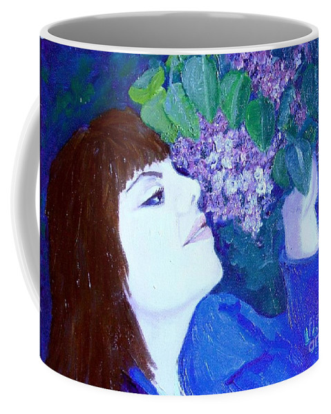 Lilacs Coffee Mug featuring the painting Lush Lilacs by Laurie Morgan