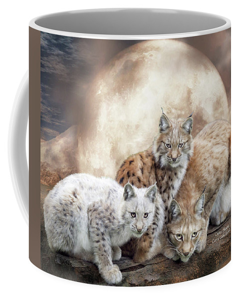 Lynx Coffee Mug featuring the mixed media Lynx Moon by Carol Cavalaris