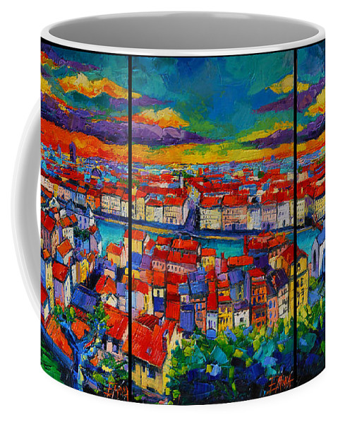 Lyon Panorama Coffee Mug featuring the painting Lyon Panorama Triptych by Mona Edulesco