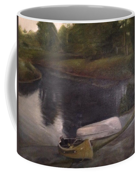 Moose River Coffee Mug featuring the painting Lyons Falls - Moose River by Sheila Mashaw