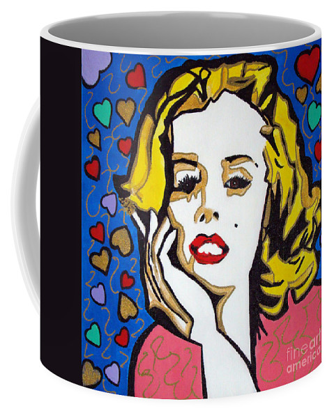 Pop-art Coffee Mug featuring the painting M M by Silvana Abel