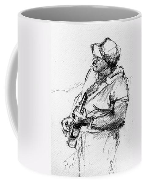 Music Coffee Mug featuring the drawing M_11 by Karina Plachetka