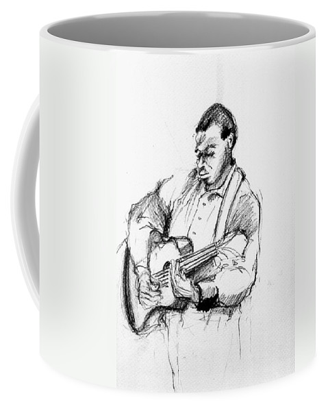Music Coffee Mug featuring the drawing M_12 by Karina Plachetka
