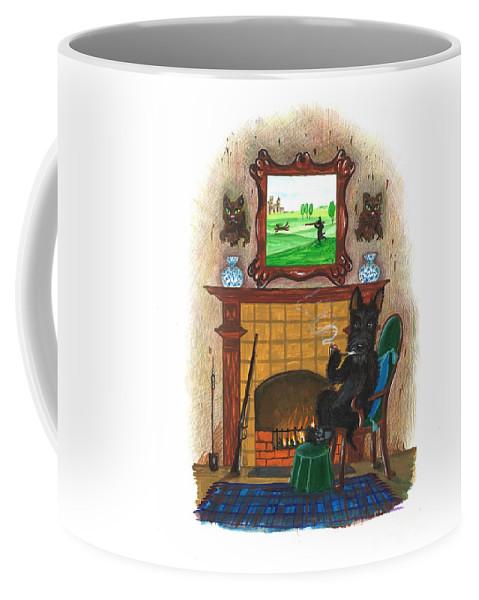 Painting Coffee Mug featuring the painting Macduff After Huntung by Margaryta Yermolayeva