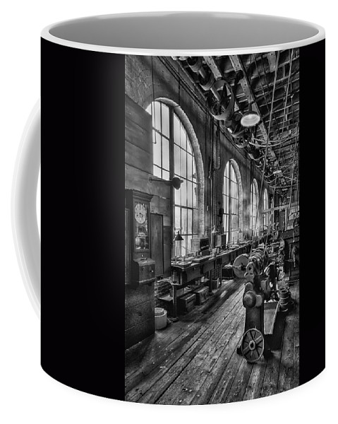 Machine Shop Coffee Mug featuring the photograph Machine Shop Bw by Susan Candelario