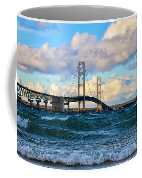 Mackinac Coffee Mug featuring the photograph Mackinac Among The Waves by Rachel Cohen
