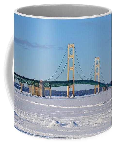 Mackinac Bridge Coffee Mug featuring the photograph Mackinac In March by Keith Stokes