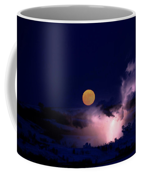 Andrea Lawrence Saskatchewan Artist Coffee Mug featuring the digital art Mad Moon by Andrea Lawrence