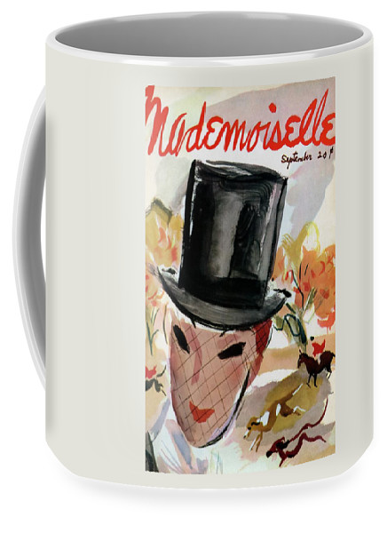 Illustration Coffee Mug featuring the photograph Mademoiselle Cover Featuring A Female Equestrian by Helen Jameson Hall