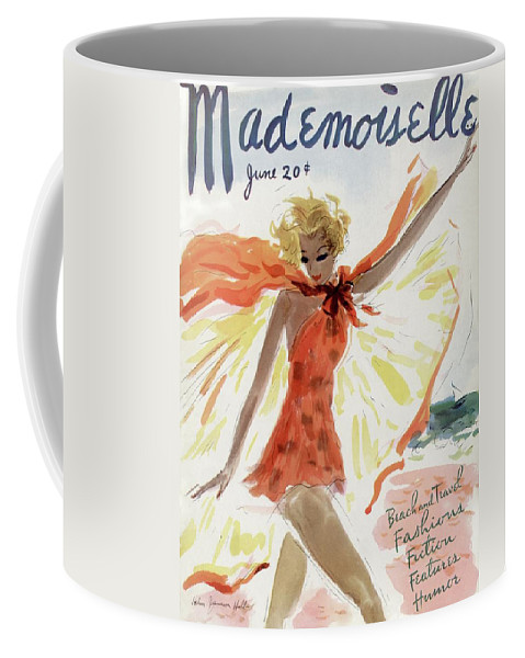 Illustration Coffee Mug featuring the photograph Mademoiselle Cover Featuring A Model At The Beach by Helen Jameson Hall