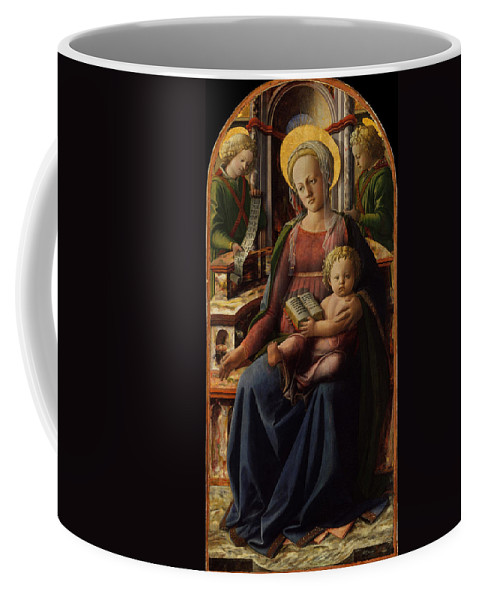 Fra Filippo Lippi Coffee Mug featuring the painting Madonna And Child Enthroned With Two Angels by Fra Filippo Lippi