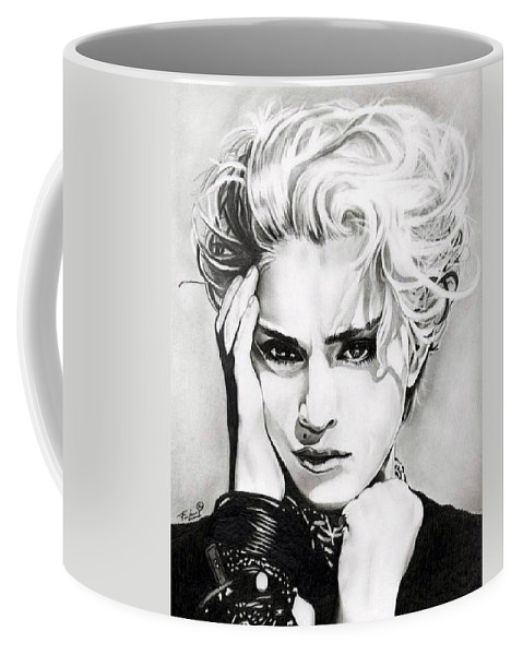 Madonna Coffee Mug featuring the drawing Madonna by Fred Larucci