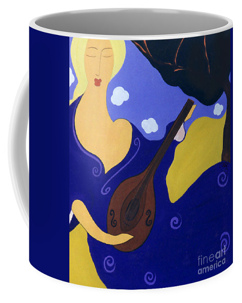 #mandolin Coffee Mug featuring the painting Magdelinas Song by Jacquelinemari
