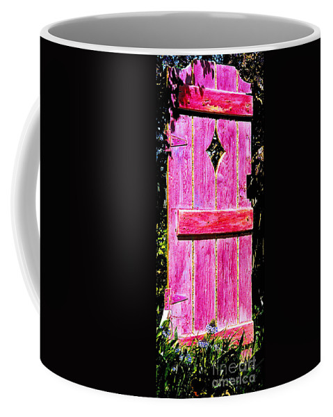 Painted Door Coffee Mug featuring the sculpture Magenta Painted Door In Garden by Asha Carolyn Young and Daniel Furon