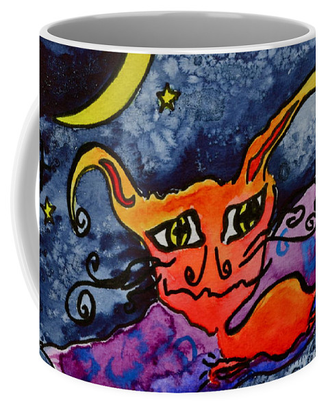 Demon Cat Coffee Mug featuring the painting Magic Carpet by Beverley Harper Tinsley