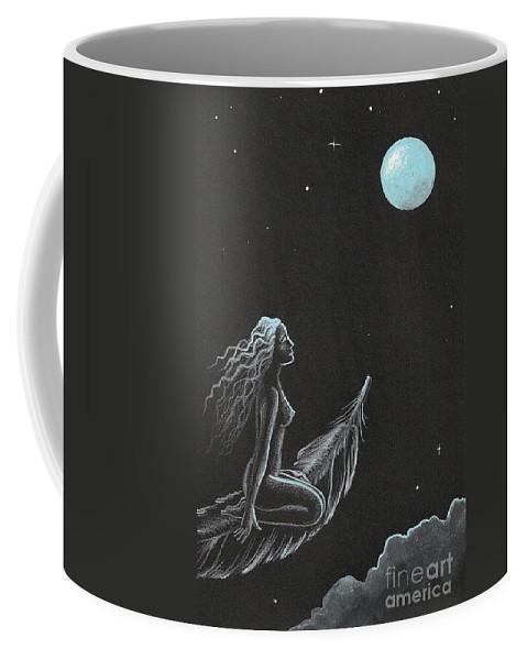 Painting Coffee Mug featuring the painting Magic Crow Feather by Margaryta Yermolayeva
