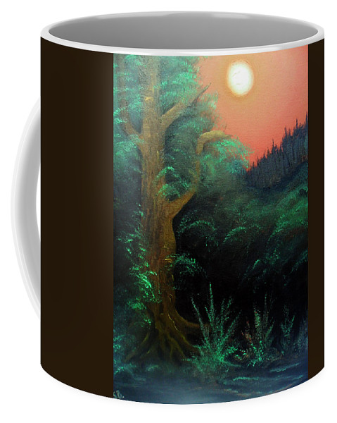 Landscape Coffee Mug featuring the painting Magic forest by Sergey Bezhinets