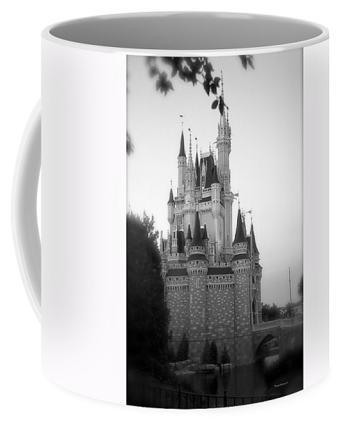 Magic Kingdom Coffee Mug featuring the photograph Magic Kingdom Castle Side View In Black And White by Thomas Woolworth