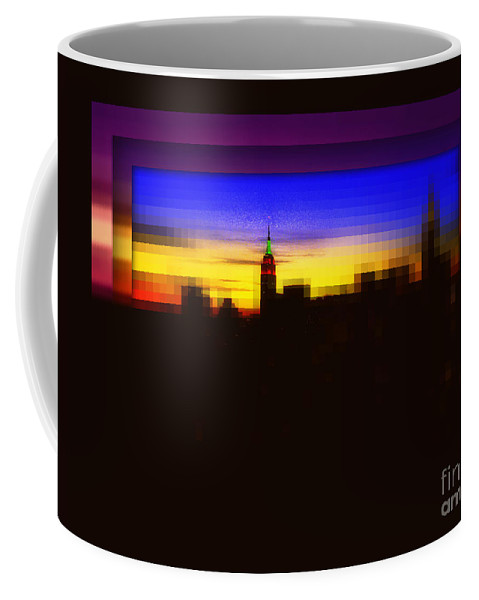 New York Skyline Coffee Mug featuring the photograph Magical Sunset And Skyline by Miriam Danar