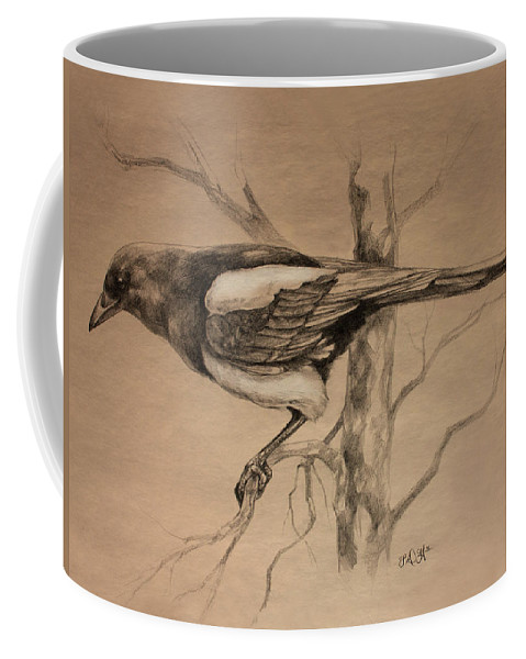 Magpie Coffee Mug featuring the drawing Magpie Sketch by Derrick Higgins
