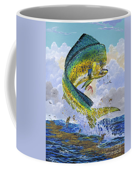Dolphin Coffee Mug featuring the painting Mahi Hookup Off0020 by Carey Chen