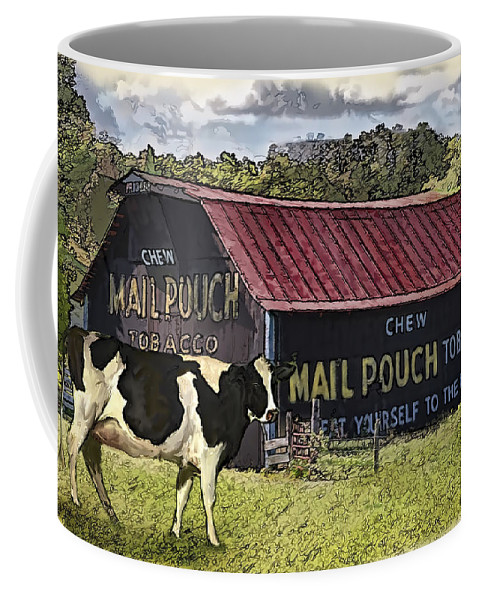 Mail Pouch Barn Coffee Mug featuring the digital art Mail Pouch Barn With Cow by Mary Almond
