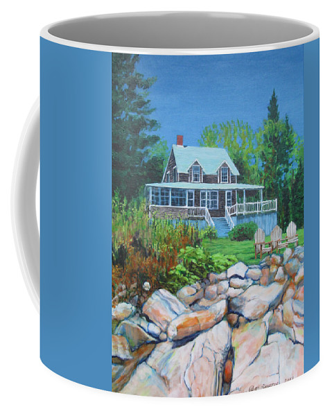 Maine Coffee Mug featuring the painting Maine Cottage by Jeff Seaberg