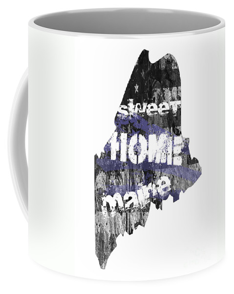 Maine Coffee Mug featuring the digital art Maine Map Cool by Voros Edit