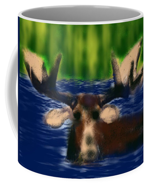 Moose Coffee Mug featuring the painting Maine Moose by Bill Minkowitz