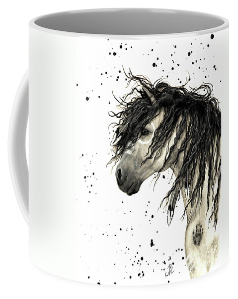 Mustang Horse Art Coffee Mug featuring the painting Majestic Grey Spirit Horse #44 by AmyLyn Bihrle