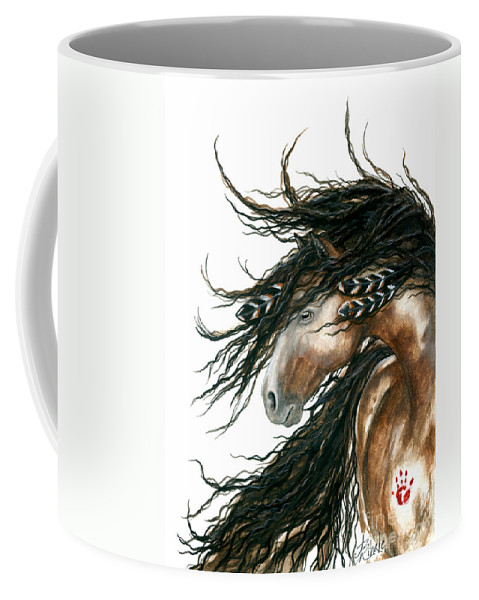 Horse Coffee Mug featuring the painting Majestic Pinto Horse 80 by AmyLyn Bihrle